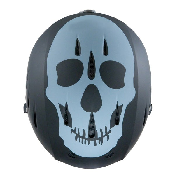 Lucky Bums Snow Sports Helmet, Black Skull