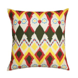 Vibrant Multicolor 'Owl' Ikat Decorative Pillow (India)