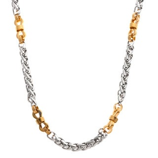 Stainless Steel and Yellow IP Fancy Link Necklace