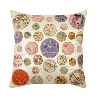 White Khambadia Decorative Throw Pillow (India)