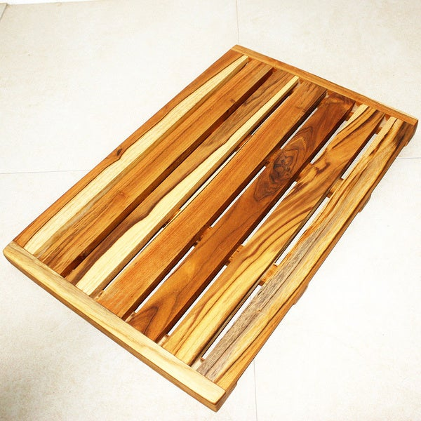 Hand-carved 26 x 17 Teak Oiled Teak Spa Mat (Thailand)