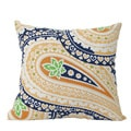 Laxmi 14 x 24-inch Blue and Orange Paisley Decorative Pillow (India)
