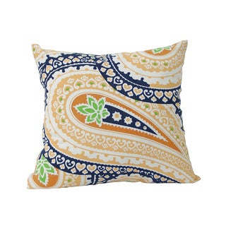 Laxmi 20 x 20-inch Blue and Orange Paisley Decorative Pillow (India)