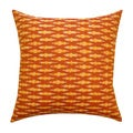 Vibrant Orange Ikat Decorative Pillow (India)