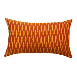 Vibrant Orange Ikat Decorative Lumbar Pillow (India)