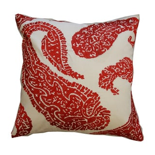 Embroidered Paisley Red Decorative Pillow (India)