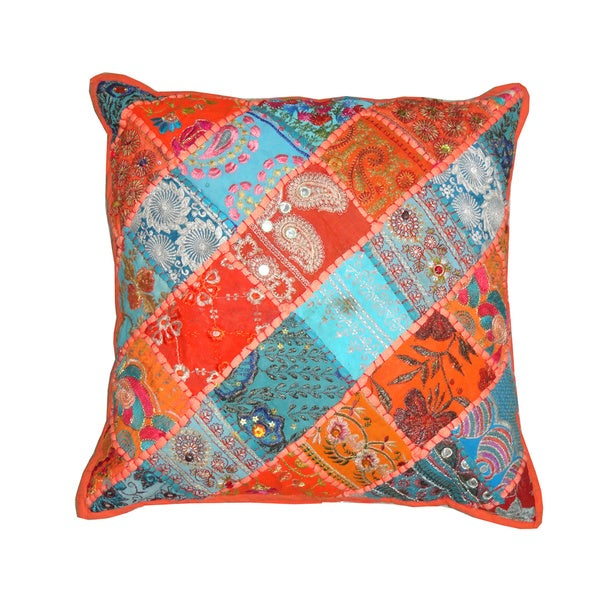 Barmer Patchwork Diagonal Stripe Decorative Pillow (India)