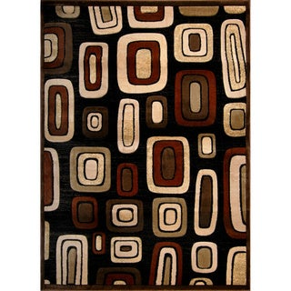 Hand-carved Modern Element Black/ Brown Rug (7'8 x 10'2)