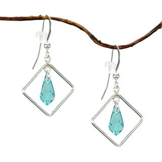 Jewelry by Dawn Diamond Shaped Light Turquoise Crystal Sterling Silver Earrings