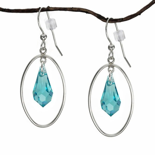 Jewelry by Dawn Large Oval Hoops With Light Turquoise Crystal Sterling Silver Earrings