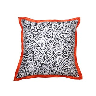 Lady Paisley Orange Decorative Pillow (India)