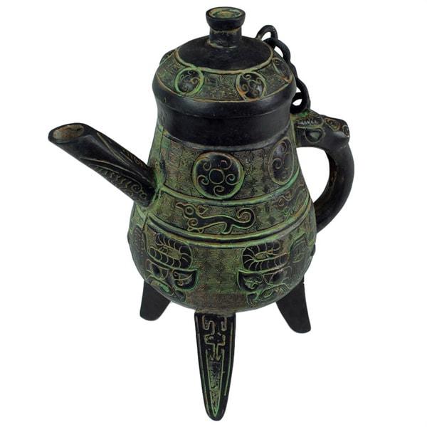 Vintage Hand-carved Bronze Wine Vessel