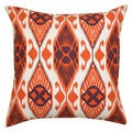 Orange and Black Ikat Decorative Pillow (India)