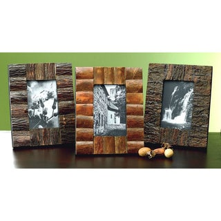 "Set of 3 Rustic Tree Bark Wood 4x6"" Frames"
