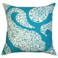 Aqua Blue Overscale Paisley Toss Pillow (India)