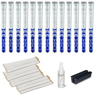 Golf Pride New Decade MCC Whiteout White/Blue - 13pc Grip Kit (with tape, solvent, vise clamp)