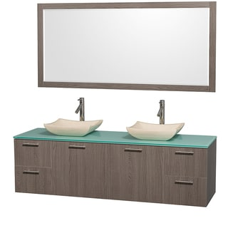 Amare Grey Oak 72-inch Double Vanity Set with 70-inch Mirror