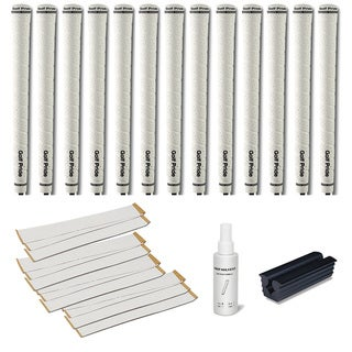Golf Pride Tour Wrap 2G Midsize White - 13pc Grip Kit (with tape, solvent, vise clamp)