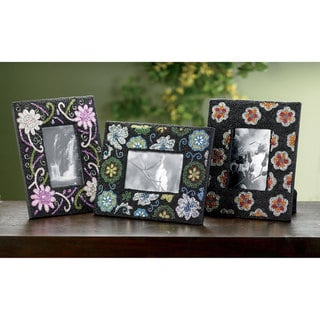 "Set of 3 Flower Beaded Perfection 4x6"" Frames"