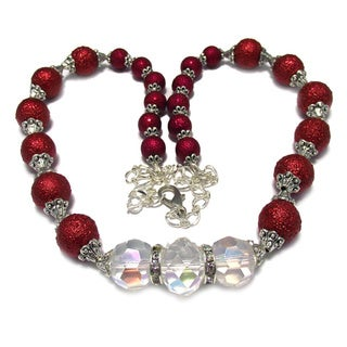 Silverplated Red Bumpy Glass Pearl and Clear Crystal Jewelry Set
