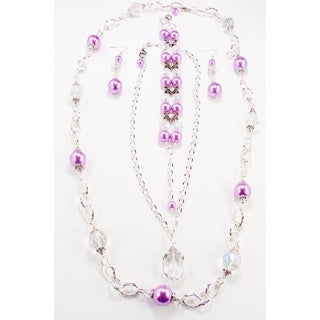 Silverplated Lavender Glass Pearl and Clear Crystal Jewelry Set