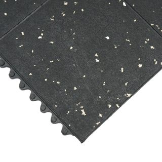 Rubber-Cal ?Revolution? Gym Flooring Tiles ? 5/8 x 36 x 36-inch Interlocking Tiles ? Black/White Specks ? 2 Pack,