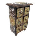 Bali-Flower Eggshell Wooden 6-Drawer Mini Chest (Indonesia)