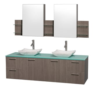 Amare Grey Oak 72-inch Double Vanity with MIrror Medicine Cabinets
