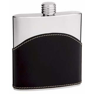 6-Ounce Black Genuine Leather Hip Flask