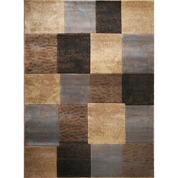 Hand-carved Modern Element Brown/ Grey Rug (7'8 x 10'2)