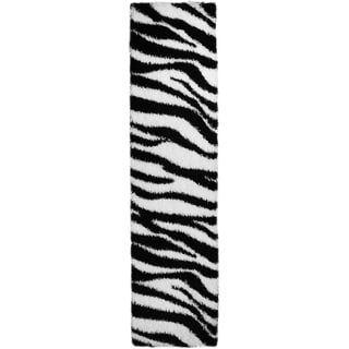 Chic Luxurious Soft Shag Zebra Runner Rug (1'8 x 6'10)