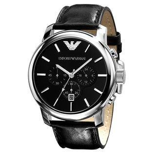 Armani Men's Classic Leather Strap Chronograph Watch