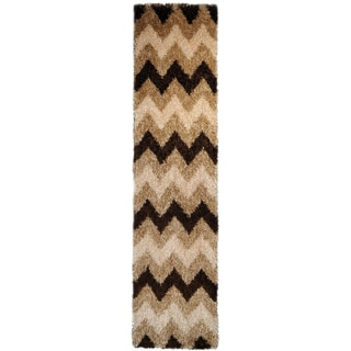 Chic Luxurious Soft Shag Beige/ Brown Chevron Runner Rug (1'8 x 6'10)