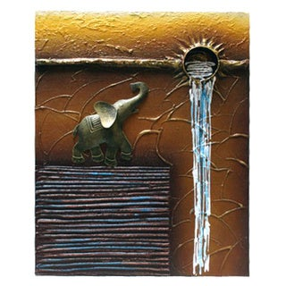 Dimensional Elephant Waterfall Abstract Canvas Art (Indonesia)