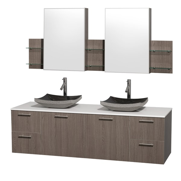Wyndham Collection Amare Grey Oak 72-inch Double Vanity with Mirror Medicine Cabinets 11530892