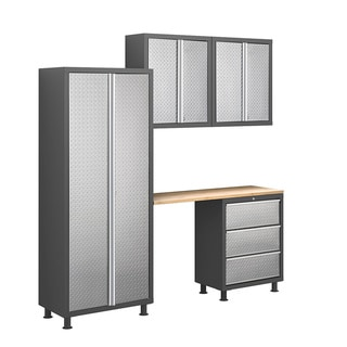 NewAge Products Bold Diamond Plate 5-Piece Cabinet Set