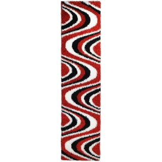 Chic Luxurious Soft Shag Red/ Black Waves Runner Rug (1'8 x 6'10)