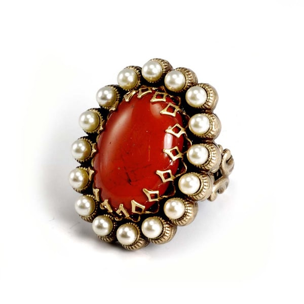 Sweet Romance Bronzetone Red Glass and Seed Pearl Oval Ring