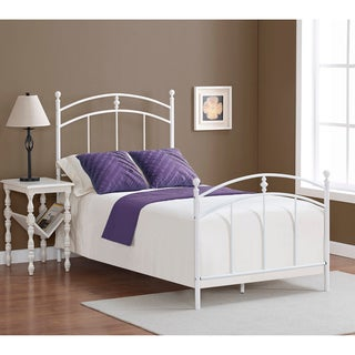 Pogo twin size powdered sugar finish bed frame overstock for Cute twin bed frames