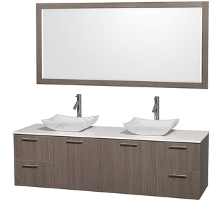 Amare Grey Oak 72-inch Double Vanity with 70-inch Mirror