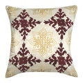 Red Medallion Embroidered Decorative Pillow (India)