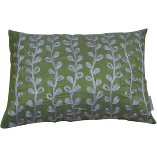 Embroidered Vines Decorative Lumbar Pillow (India)