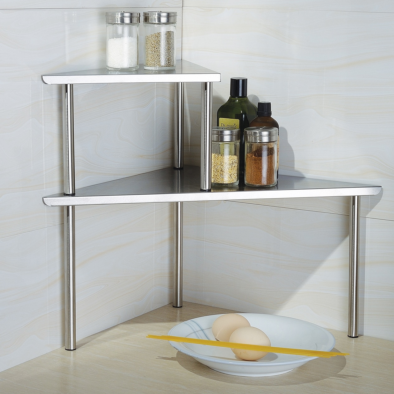 storage shelf stainless steel caddy organizer kitchen counter bath
