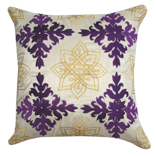 Purple Medallion Embroidered Decorative Pillow (India)