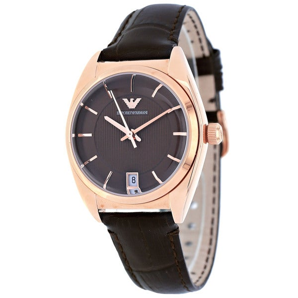 Armani Women's Classic Brown Leather Strap Watch