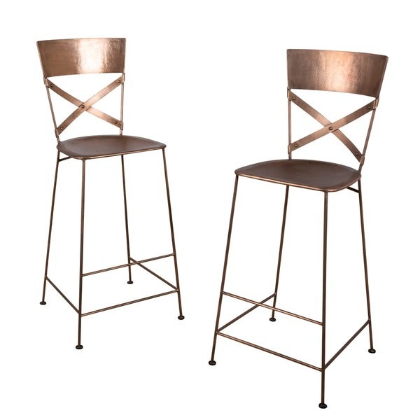 Set Of 2 Jabalpur Copper Bar Stools India 15567819