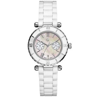 Guess Women's I35003L1 Silver Ceramic Swiss Quartz Watch with Mother-Of-Pearl Dial