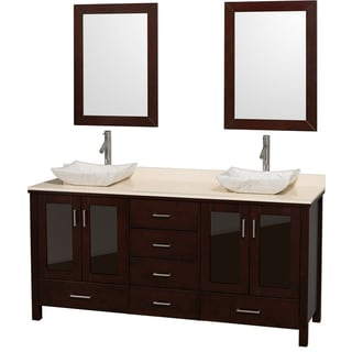 Lucy Double 72-inch Espresso Double Vanity with Mirrors