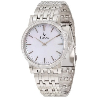Bulova Men's Classy 96E110 Silver Stainless-Steel Quartz Watch with Mother-Of-Pearl Dial