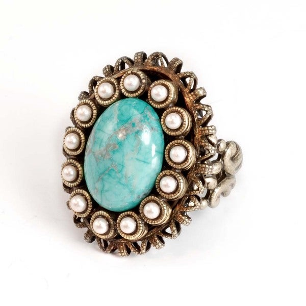 Sweet Romance Bronzetone Turquoise Glass and Faux Pearl Ring